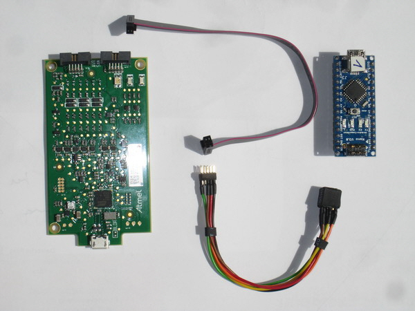 Atmel ICE with cable and Arduino Nano V3